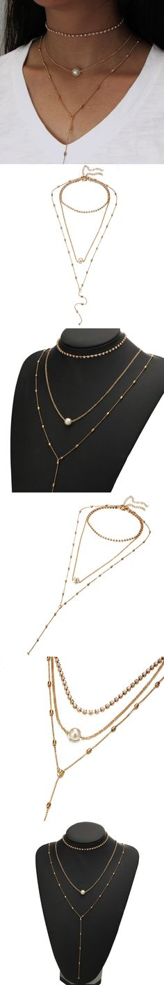Multilayer Simulated Pearl Chocker Necklaces Gold Color Crystal Rhinestone Link Chain Long Tassel Beads  Pendant Women Jewelry