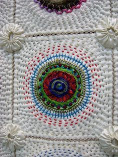 Griet Lombard - Block-A-Day Therapy, hand quilting and embroidery, photo by Jackie Kirner..