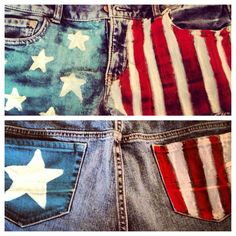 American flag painted shorts