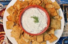 Tzatziki Feta Cheese Dip - Greek and Middle Eastern fusion dip with salty feta, spices and a touch of dill.  Serve with hearty multi grain pita chips.