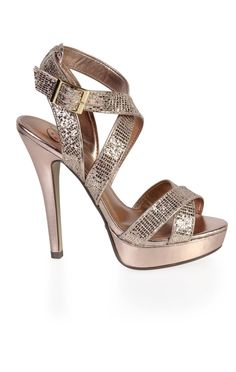 Deb Shops #gold open toe metallic dressy high heel with mesh glitter