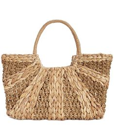 This straw tote is totally beach-worthy. Straw Beach Tote, Straw Tote, Summer Tote Bags, Beach Tote Bags, Straw Handbags, Tote Handbags, Water Hyacinth, Handbag Accessories, Fashion Bags