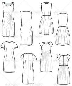 Fashion Flat Sketches for Day Dress Collection - Man-made objects Objects