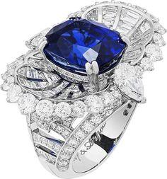 Seven Sea Collection ~ Mer de Sindh ring: Cushion-cut sapphire of10.80 carats (Sri Lanka) and diamonds. © Van Cleef &Arpels