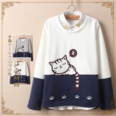 Size:one material:cotton.Tips: *Please double ch Cute cat thick fleece pullover Kawaii Fashion, Cute Fashion, Teen Fashion, Womens Fashion, Japanese Fashion, Korean Fashion, Mode Kawaii, Kawaii Shop, Kawaii Clothes