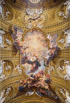 Quadratura. Triumph of the Sacred Name of Jesus (1674-1679). Artist: Giovanni Battista Gaulli (Baciccio) Chiesa del Gesù. Rome, Lazio, Italy.