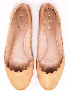 Chloé scalloped ballet flats (nude)