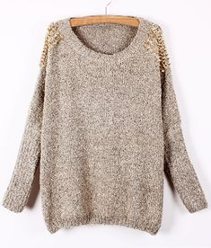 Apricot Batwing Sleeve Rivet Shoulders Loose Sweater