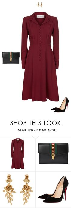 """""""Ladylike"""" by mrs-snow ❤ liked on Polyvore featuring Valentino, Gucci, Oscar de la Renta, Christian Louboutin, DateNight, gucci and conservative"""