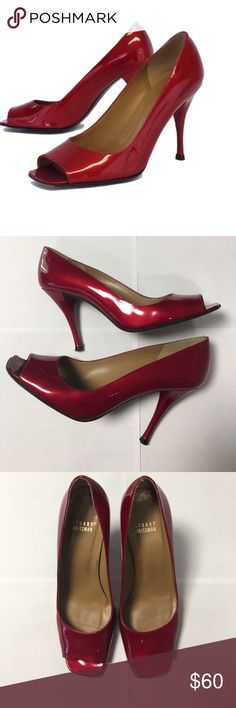 """Stuart Weitzman ruby red pumps heels shoes 8 Excellent preowned condition Stuart Weitzman red pumps. Size 8M Red Peep Toe Pumps Leather sole Some wear on outsoles Leather upper Made in Spain Square toe Lightly padded insoles Heel height 4"""".                   041917 Stuart Weitzman Shoes Heels"""