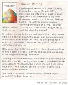 """Review of the book """"Classic Pacing for a Better Life with ME"""" in latest ME Association magazine"""