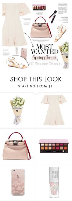 """""""Spring Trend: Off-Shoulder Dresses"""" by leniastuti ❤ liked on Polyvore featuring Valentino, Fendi, White Label, Anastasia Beverly Hills and Gianvito Rossi"""