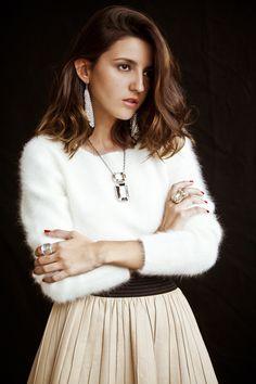 LovelyPepa shines with Swarovski Nirvana Ring, Fit Silver Shade Pierced Earrings, Segment Ring and Pendant. Photo courtesy of LovelyPepa (www.fashionsalade.com/lovelypepa/).