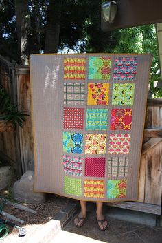 By Kelley Brooks. I love this because sometimes I just don't want to hack the pretty fabrics up. And it'd be a great layout for a quilt showcasing old hankies or scarves.