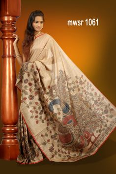 Hand painted #penkalamkari tussar #saree  Code: mwsr 1061 Price: 8750/-  (bulk buyers / Wholesale / boutiques / Retail shops for trade inquiries please contact our Whatsapp no 8801302000)
