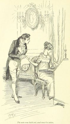 Giclee Print: Henry Crawford and Fanny Price Art Print by Hugh Thomson by Hugh Thomson : People Illustration, Book Illustration, Illustrations, Jane Austen Mansfield Park, Jane Austen Novels, Vintage Drawing, Vintage Art, Draw On Photos, Classic Literature