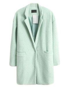 Shop Light Green Longline Wool Coat from choies.com .Free shipping Worldwide.$72.79