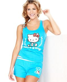 Hello Kitty Pajamas, Cutie Squad Tank and Shorts Set - Womens Lingerie - Macy's Lazy Day Outfits, Cool Outfits, Hello Kitty House, Hello Kitty Clothes, Hello Kitty Coloring, Hello Kitty Accessories, Hello Kitty Images, Cute Pjs, Hot Dress
