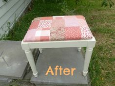 Shabby Chic Patchwork Footstool after its makeover