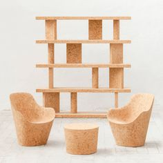 The cork family Jasper Morrison collection features limited-edition minimalist furniture crafted from wine bottle cork stoppers. Home Design, Interior Design, Global Design, Design Interiors, Recycling, Wine Bottle Corks, Cork Stoppers, Minimalist Furniture, Dezeen