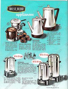 Dianne Zweig - Kitsch 'n Stuff: West Bend Appliances Is Now Celebrating 100 Year Anniversary Retro Ads, Vintage Advertisements, Vintage Ads, Coffee Quotes Funny, Coffee Humor, Vintage Appliances, Small Appliances, Revere Ware, West Bend