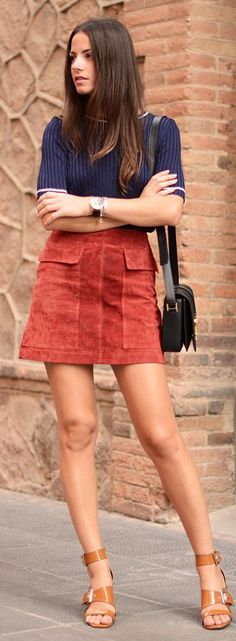 Blue top rust suede skirt nude wedges