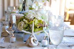 karen tran green & white beach themed table decor wedding