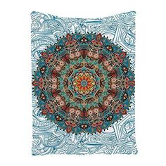 Asian Tapestry by Ambesonne, Hippy Room Asian Bohemian Theme Colorful Mandala Oriental Traditional Design Indian Hippie Tapestry Wall Hanging Art for Living Room Bedroom, Teal Turquoise Mustard Beige Tapestry Beach, Indian Tapestry, Mandala Tapestry, Hanging Art, Tapestry Wall Hanging, Asian Tapestries, Hippie Tapestries, Mandala Towel, Dorm Accessories