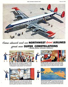 Lockheed Super Constellation - Northwest Orient Airlines - Robert McCall - 1955
