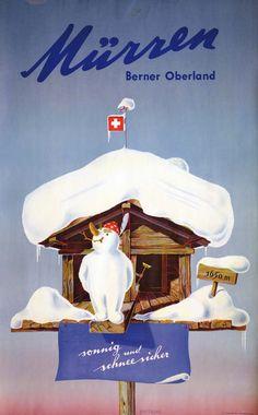 vintage ski poster - Murren,  Petrus