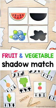 This fun Shadow Matching PACK includes a lot of different puzzles and clip cards with cute and colorful fruits and vegetables! It's a great activity for kids to practice visual discrimination skills! #shadowmatch #printableactivitiesforkids #preschool