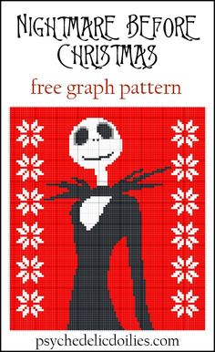Nightmare Before Christmas Graphghan Blanket Pattern – Psychedelic Doilies Nightmare Before Christmas Graphghan Free Crochet Pattern. This festive Jack Skellington … Crochet Afghans, C2c Crochet, Afghan Crochet Patterns, Free Crochet, Crochet Blankets, Crochet Skull Patterns, Graph Crochet, Crochet Fall, Crochet Stitches