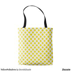Yellow Polka Dots Tote Bag  Available on many products! Hit the 'available on' tab near the product description to see them all! Thanks for looking!     @zazzle #art #polka #dots #shop #chic #modern #style #circle #round #fun #neat #cool #buy #sale #shopping #men #women #sweet #awesome #look #accent #fashion #clothes #apparel #tote #bag #accessories #accessory #compact #mirror #hand #purse #clutch #cosmetic #makeup #messenger #bicycle #yellow #white