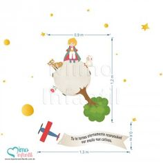 Adesivos para quarto de bebê Pequeno Príncipe (GRANDE - Veja a 2a imagem)