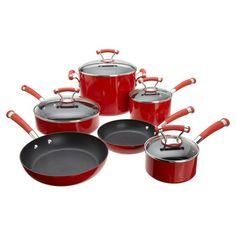 12-piece aluminum nonstick cookware set with glass-lidded pots and pans and porcelain exteriors.  Product: (1) 1 Quart c...