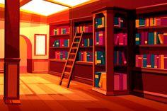 empty library books anime reading 2d shelves wooden interior episode cartoon