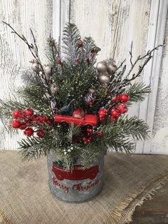 Excited to share this item from my shop: Old Red Truck Bringing Home the Tree Christmas Centerpiece, Christmas Arrangement in Galvanized Tin, Holiday Decor, FAAP Christmas Porch, Farmhouse Christmas Decor, Diy Christmas Ornaments, Country Christmas, Vintage Christmas, Christmas Wreaths, Christmas Planters, Primitive Christmas, Outdoor Christmas