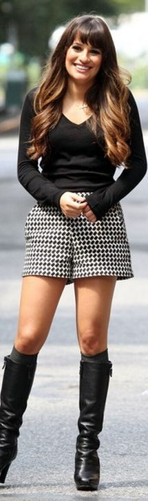 Who made  Lea Michele's black and white print shorts and black knee high boots that she wore in New York?