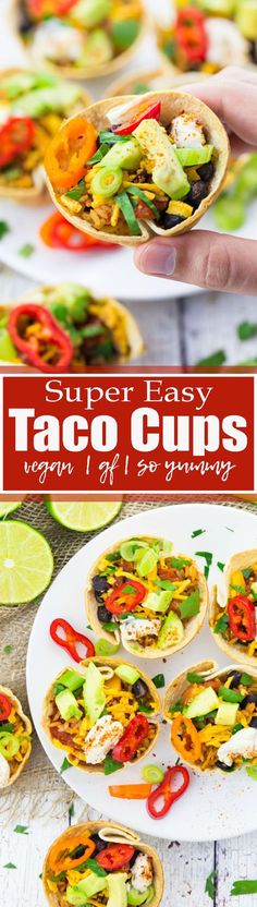 These taco cups make the perfect appetizer or even dinner! They're filled with Mexican spiced rice, black beans, peppers, and avocado. As all recipes on my blog, they're 100 % vegan. Plus, this recipe is also gluten-free! And SO INCREDIBLY DELICIOUS!! Find more vegan recipes at veganheaven.org