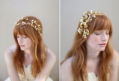 Twigs & Honey's newest collection of jeweled and gold gilded headpieces.