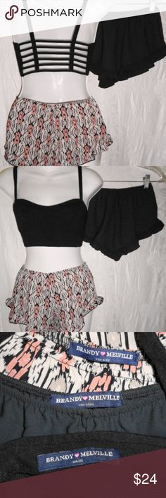 BRANDY MELVILLE Black Cage Bra Top & 2 Pr Shorts 4 This is a 3 Pc set of BRANDY MELVILLE Clothing, all tagged size Small or One Size, but are best for US 3/4. All in excellent condition. The top says it's cotton and wool, but it's stretchy cotton / spandex. Unstretched Bust 25, Length 12. The Black & Ikat Print shorts are the same style, are 100% rayon crepe and have never been worn. They have an elastic waist and high cut sides with small hem ruffles. Unstretched Waist 22, Hips 36, Inseam…