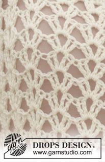 "Chaqueta de ganchillo DROPS con patrón de calados y puntos altos en ""Cotton Merino"". Talla: S - XXXL. ~ DROPS Design"