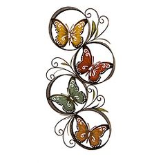 @Overstock - This wall hanging features four beautiful butterflies set in hollow circles. This decorative piece makes a great addition to your home or garden and has been colorfully painted by artisans in China.  http://www.overstock.com/Home-Garden/Metal-Colorful-Butterfly-Wall-Decor/5179472/product.html?CID=214117 $95.99