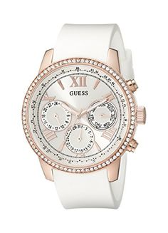 fb1a6c452e52 GUESS Women s U0616L1 White Silicone  amp  Rose Gold-Tone Multi-Function  Watch GUESS