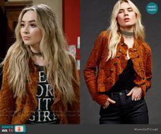 Maya's orange lace jacket on Girl Meets World.  Outfit Details: https://wornontv.net/64599/ #GirlMeetsWorld