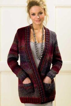 James C Brett Marble Chunky Jacket Knit Cardigan Pattern, Sweater Knitting Patterns, Crochet Cardigan, Sweater Cardigan, Knit Patterns, Jacket Pattern, Beanie, Cardigans For Women, Women's Cardigans