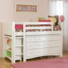 space saver. This is awesome for a single kid, or in a room where you have 3 kids sharing and already have 1 bunk! Save dresser space! This would work with the next one if they were either girl or boy, if its a boy Liese could use it, if its a girl I would totally do this for Brodys bed