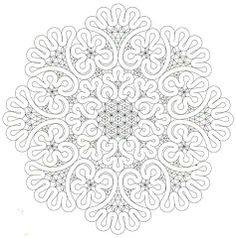 Another Romanian lace pattern. This would be phenomenal on the front of an invitation, either faded in the background or in the center with font above and below. Crochet Motifs, Form Crochet, Knit Or Crochet, Irish Crochet, Crochet Pattern, Mandala Coloring Pages, Colouring Pages, Bobbin Lace Patterns, Embroidery Patterns