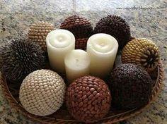 Decoración con bolas de telgopor y semillas
