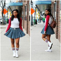 Forever 21 Baseball Tee, H Pinstripe Skirt, Urban Outfitters Cute Gym Socks, Hightop White Converse, Vintage Backpack High Top Tennis Shoes, Vintage Backpacks, White Converse, College Girls, African Fashion, Sunnies, Skater Skirt, High Tops, Urban Outfitters